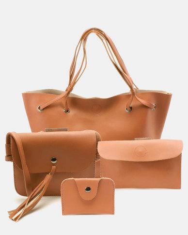 Utopia 4 Piece Handbag Set Tan