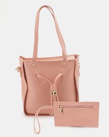 Utopia 2 Piece Handbag Set Pink