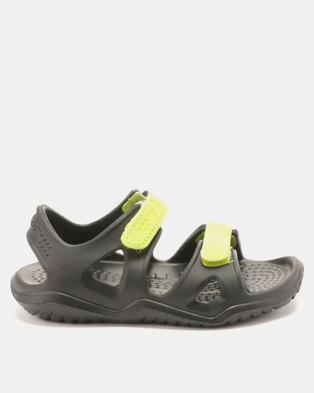 a179943de171 Crocs Kids Swiftwater River Sandals Black Volt Green