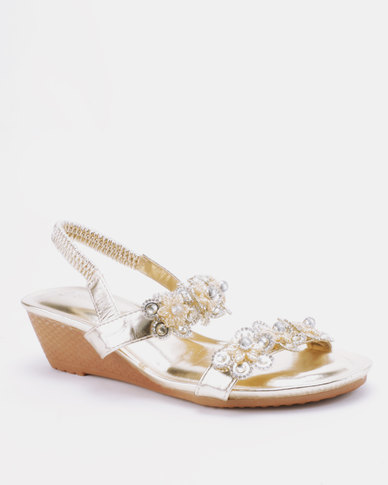 4b2c59e57137 Queenspark Two Rows Encrusted Daisies On Wedges Gold