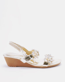 Queenspark Two Rows Encrusted Daisies On Wedges Gold