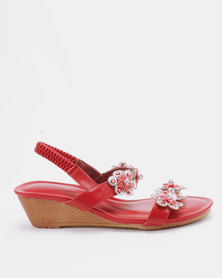 Queenspark Two Rows Encrusted Daisies On Wedges Red