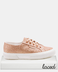 Superga Classic Microglitter Lo Lace Up Sneakers Rose Gold