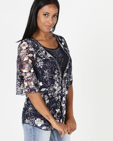 Queenspark Gold Foil Rose Knit Top Blue