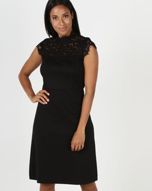 cath.nic By Queenspark Knit And Lace Combo Woven Dress Black