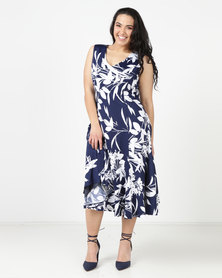 Queenspark Plus Floral Fit & Flare Dress Navy