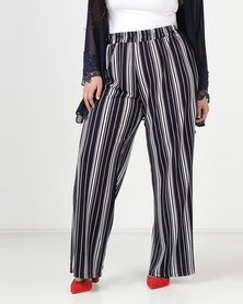 Queenspark Plus Striped Woven Pants Navy
