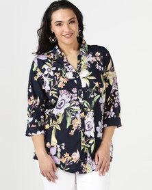 Queenspark Plus Floral Printed Voile Woven Shirt Navy