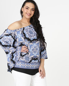 Queenspark Plus Border Printed Knit Top Blue