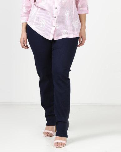 Queenspark Plus Sparkling Waist Denim Jeans Indigo