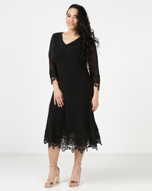Queenspark Plus New Mesh Lace & Iron on Detila Knit Dress Black