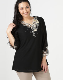 Queenspark Plus Glamour Mesh Knit Top Black