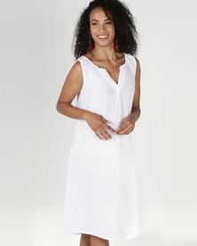 Assuili William de Faye 100% Linen Tunisian Collar Dress White