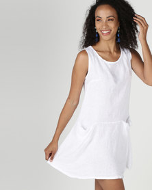 Assuili William de Faye 100% Linen Trailer Dress with Pockets White