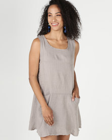 Assuili William de Faye 100% Linen Trailer Dress with Pockets Desert