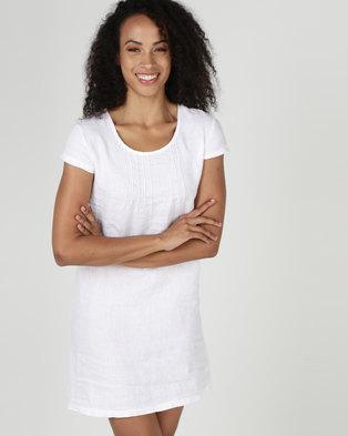 378fec23e3 Assuili William de Faye 100% Linen Pleated Front Dress White