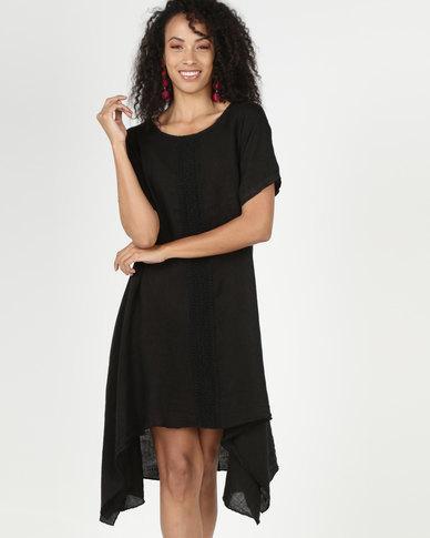 Assuili William de Faye 100% Linen Lace Front Dress Black
