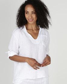 Assuili William de Faye 100% Linen V Neck Top with Pockets White