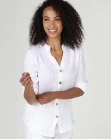 Assuili William de Faye 100% Linen Button Down Shirt White