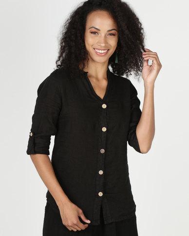 Assuili William de Faye 100% Linen Button Down Shirt Black