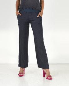 Assuili William de Faye 100% Linen Pants with Pockets Marine