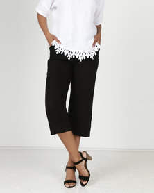 Assuili William de Faye 100% Linen Cropped Pants Black