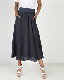 Assuili William de Faye 100% Linen Long Skirt Pockets Marine