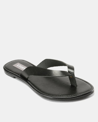 82db544d283 Utopia Leather Thong Sandals Black