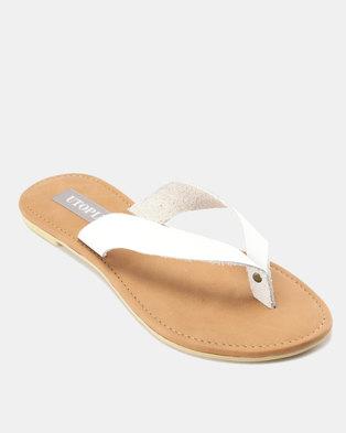 e5b00ab0ae7 Utopia Leather Thong Sandals White