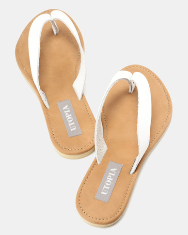 Utopia Leather Thong Sandals White