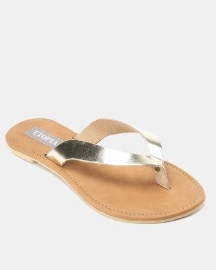 e136b9e36 Utopia Leather Thong Sandals Gold