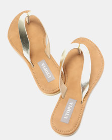 Utopia Leather Thong Sandals Gold