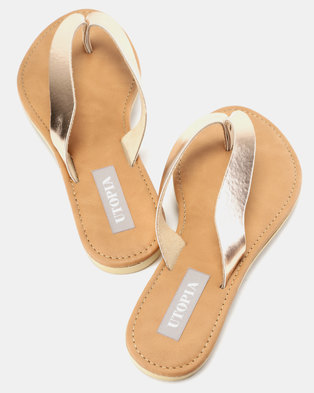 Utopia Leather Thong Sandals Rose Gold