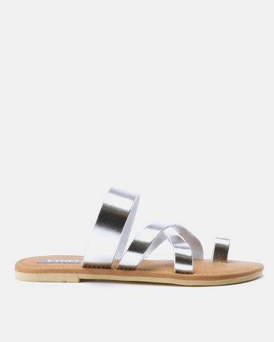 Utopia Toe Thong Leather Sandals Silver
