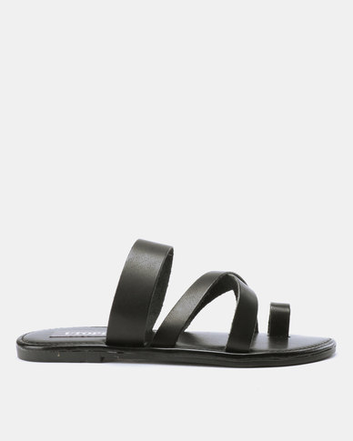 Utopia Toe Thong Leather Sandals Black