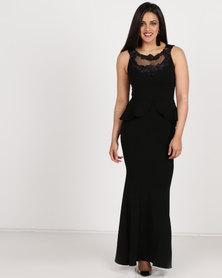 Sissy Boy Peplum Maxi Dress Black