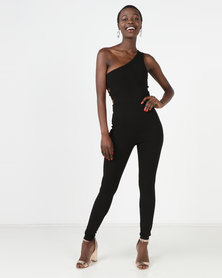 Sissy Boy One Shoulder With Side Elastic Detail Jumpsuit Black