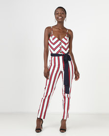 Sissy Boy Tie Detail Stripe Jumpsuit Multicoloured