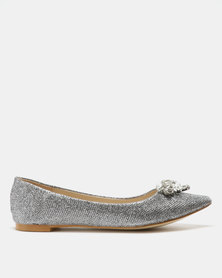 Utopia Embellished Pointy Flats Pewter