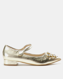 Utopia Embellished Mary Jane Flats Gold