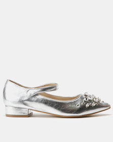 Utopia Embellished Mary Jane Flats Silver