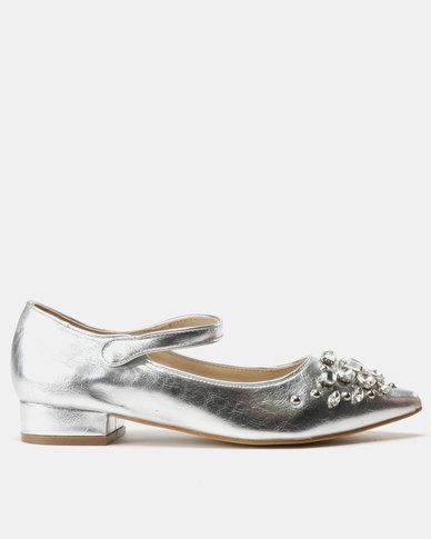Utopia Embellished Mary Jane Flats Silver
