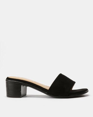 Utopia Block Heel Slides Black