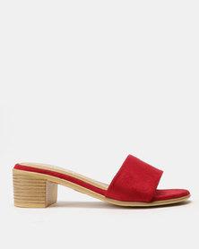 Utopia Block Heel Slides Red