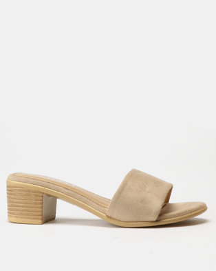 Utopia Block Heel Slides Beige