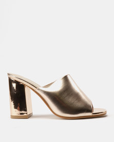 Utopia Mule Heel Sandals Rose Gold