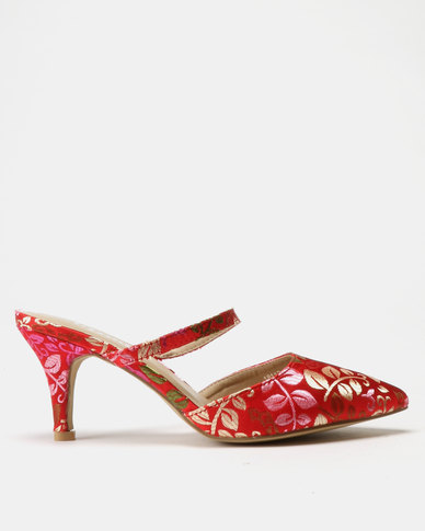 Utopia Point Mules Red Print