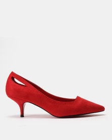 Utopia Pointy Kitten Heels Red