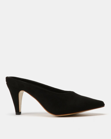 Utopia Pointy Kitten Heel Mules Black