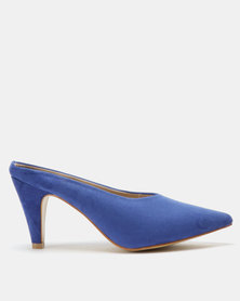 Utopia Pointy Kitten Heel Mules Blue